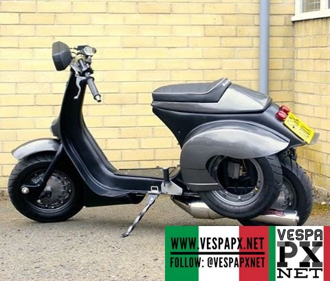 Custom grey vespa cafe racer vespa px for Vespa cafe racer