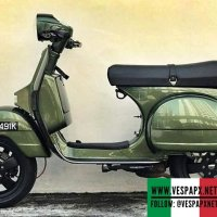 "Vespa PX green with 12"" Vespa GTS wheels"