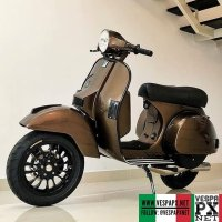Bronze Brown Vespa PX custom modified with Vespa Sprint 12 velg wheels  @molkhan