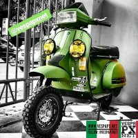 Green custom modified Vespa T5 Excel off road  @gaylordz_antwerpscooterclub