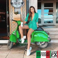 Vespa girl on green Vespa PX custom modified @beatrixramosaj