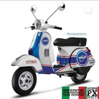 White Vespa New PX racing stickers custom modified . hashtag and mention @vespapxnet for feature repost @toyolube
