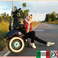 Vespa girl with black VESPA PX . hashtag and mention @vespapxnet for feature repost @dwimazda