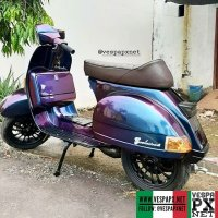 Bicolor purple blue Vespa PX custom modified with Vespa sprint wheel . hashtag and mention @vespapxnet for feature repost @candrascootergarage