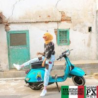 Vespa girl with mint green Vespa PX . hashtag and mention @vespapxnet for feature repost @dindabest_