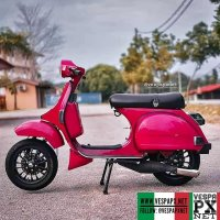 Red Vespa PX custom modified with Vespa sprint wheel . hashtag and mention @vespapxnet for feature repost Check website www.vespapx.net for more @herymatzin