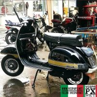Classic black with gpld stripes Vespa P150X . hashtag and mention @vespapxnet for feature repost Check website www.vespapx.net for more