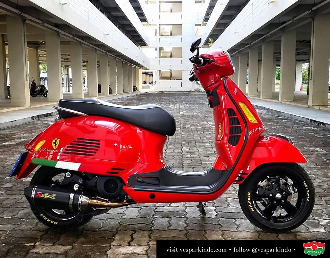 Spotted Red devil Vespa GTS by @perzeusboy Love the italian stripes and yellow lights