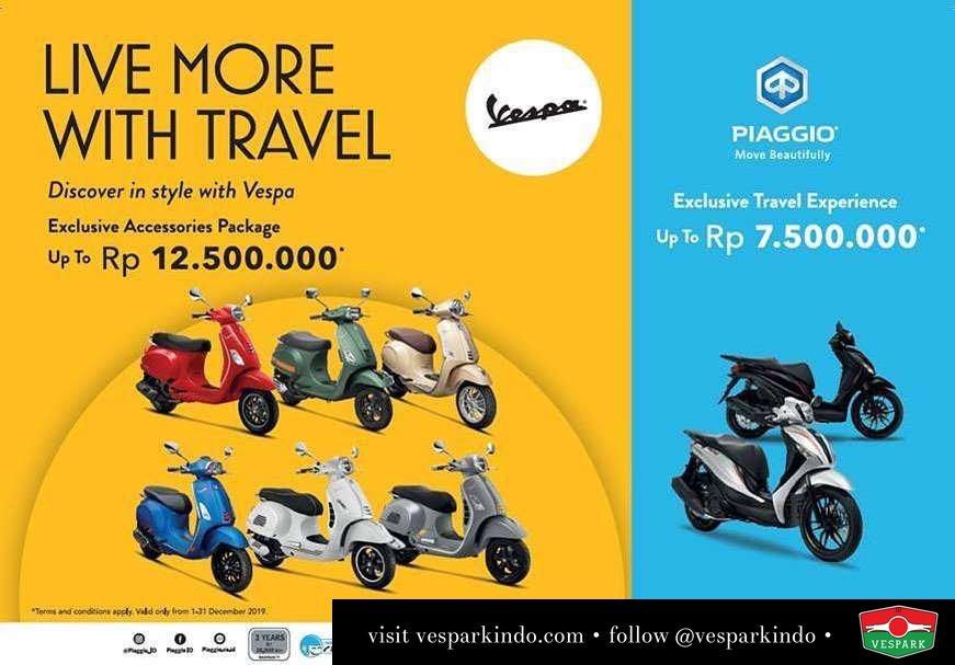 Vespa Live more with Travel. Free exclusive genuine Vespa accessories package up to 12.5jt Untuk pembelian unit Vespa Silakan hub Vespark untuk informasi lengkap. 061-4565454 / wa 0815-21-595959 Melayani pembelian unit Aceh, Pekanbaru dan kota lainnya di Sumatera Utara Berlaku 01-31 Dec 2019