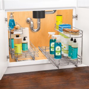 stainless steel pull-out baskets for cleaning supplies