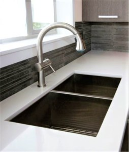 Square lined double bowl sink under mounted