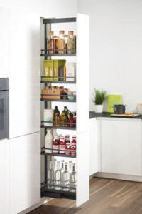 narrow pantry pullout ideal for condiment storage