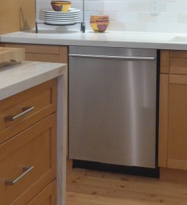 Stainless steel dishwasher with handle and top controls