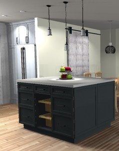 Rendering of proposed kitchen with island