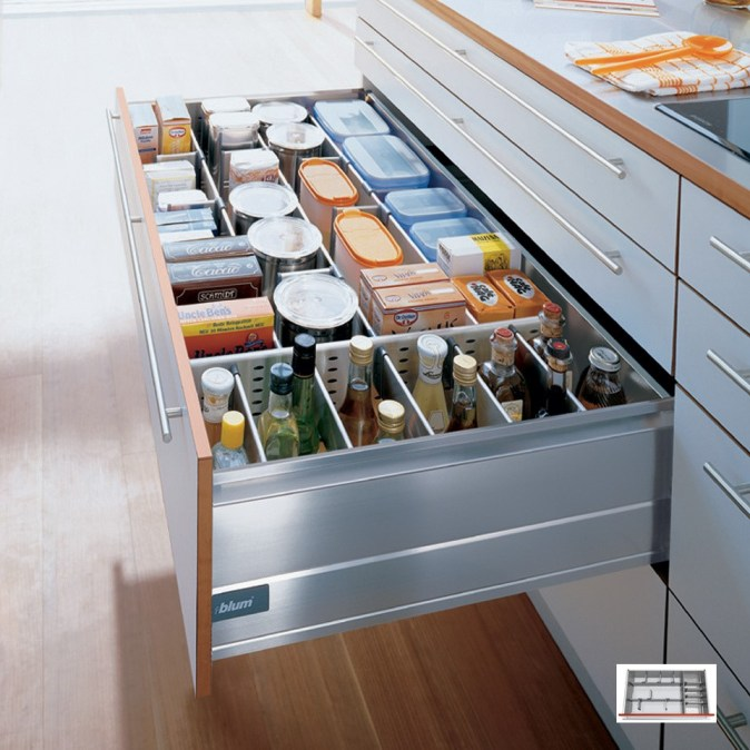 metal drawer with dividers for condiments and food stuffs