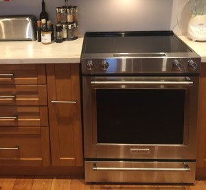 stainless steel oven with flat electric top and convection oven