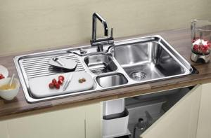 sink with drainboard, compost chute and two bowls