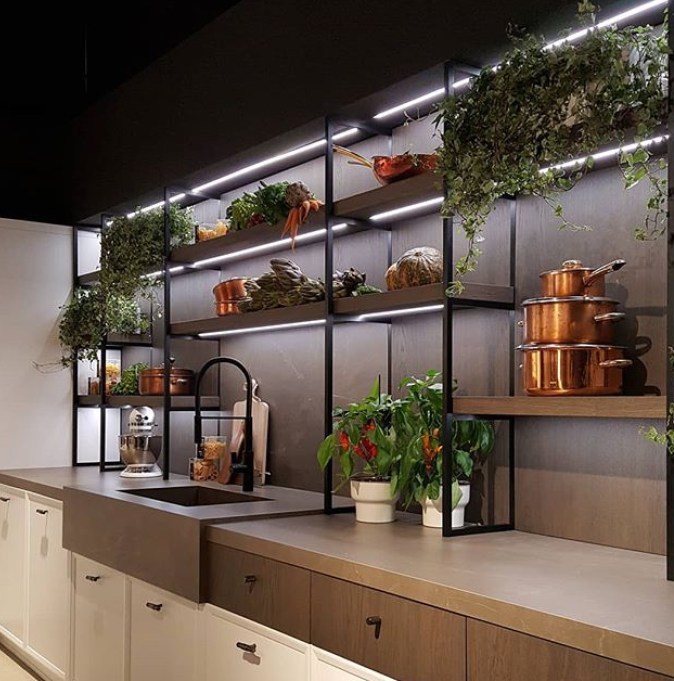 metal and wood open shelving in kitchen