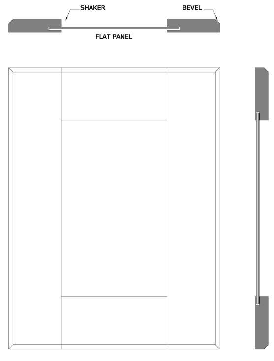 Shaker door with beveled edge