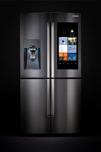 matte black refrigerator with touch screen