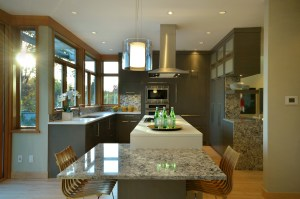 Transitional kitchen with grey cabinetry and quartz countertops