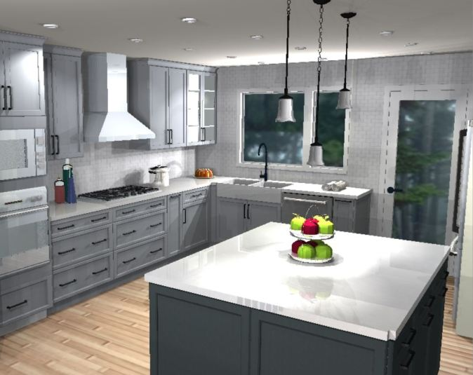 perspective view of proposed kitchen design