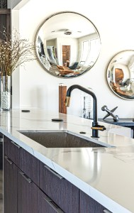 kitchen with a variety of metals specified