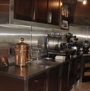 custom coffee bar with stainless steel counter