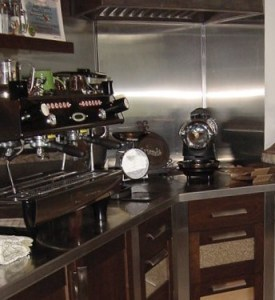 details of custom coffee bar including bean drawers and extractor hood