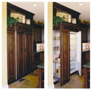 Food storage zone with pantry and refrigerator