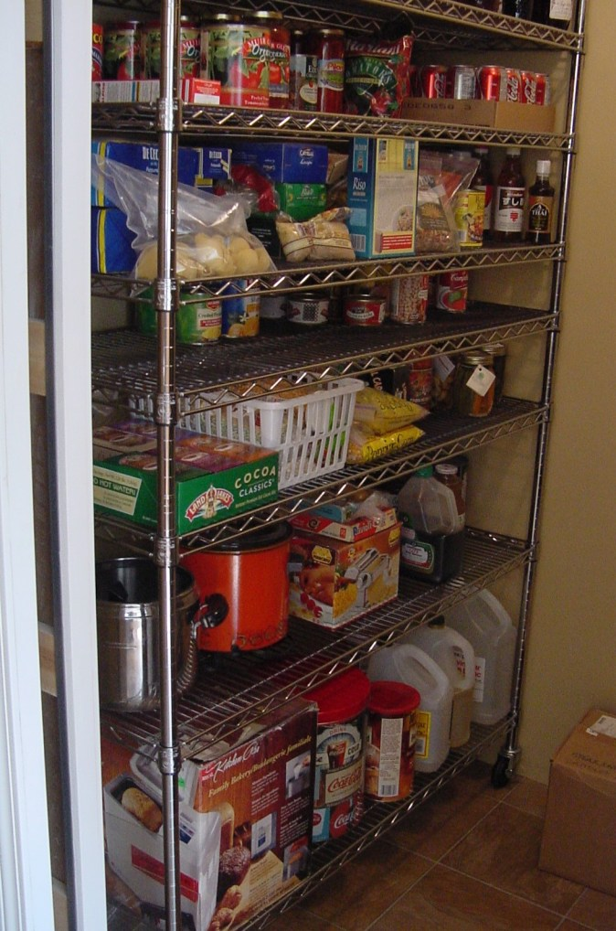 metal pantry shelving in a closet