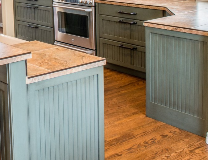 painted kitchen with bead board accents