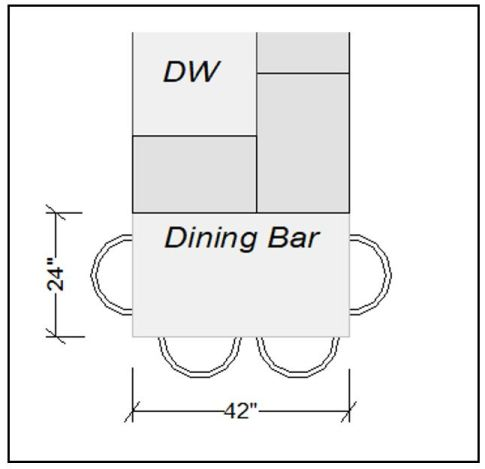 "Each diner needs a minimum of 24"" wide and 15"" deep clear to be functional"
