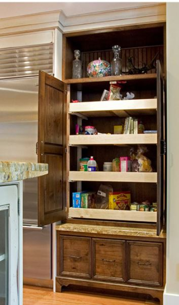 Rollout shelves in pantry