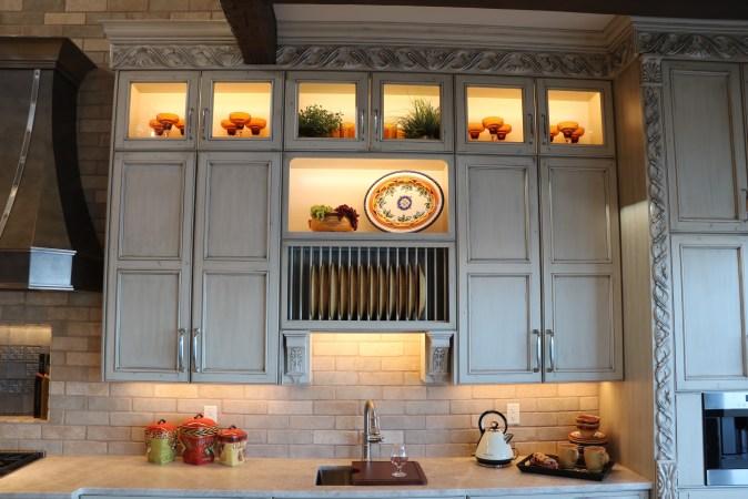 Upper storage in modern tuscan kitchen