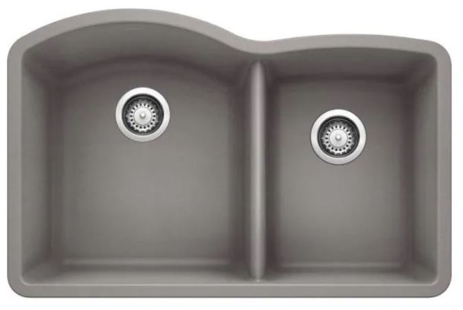 Back drains in double bowl sink