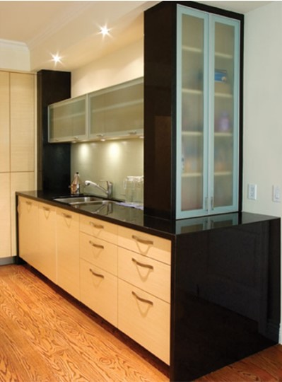 glass doors to counter