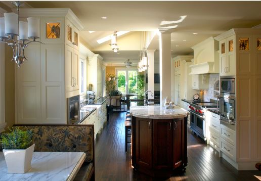 kitchen with white and wood island