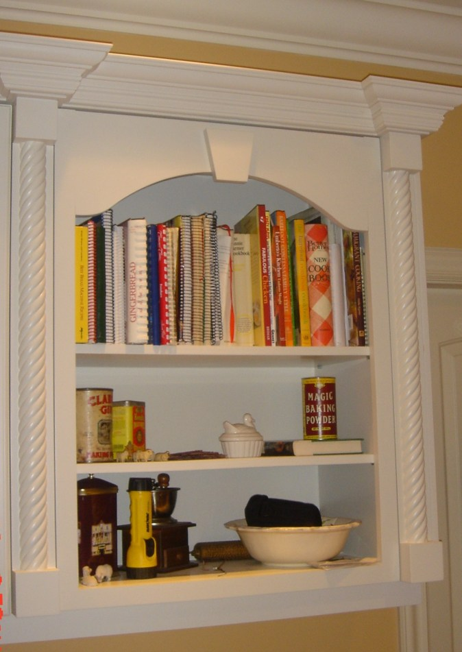 custom white open shelf