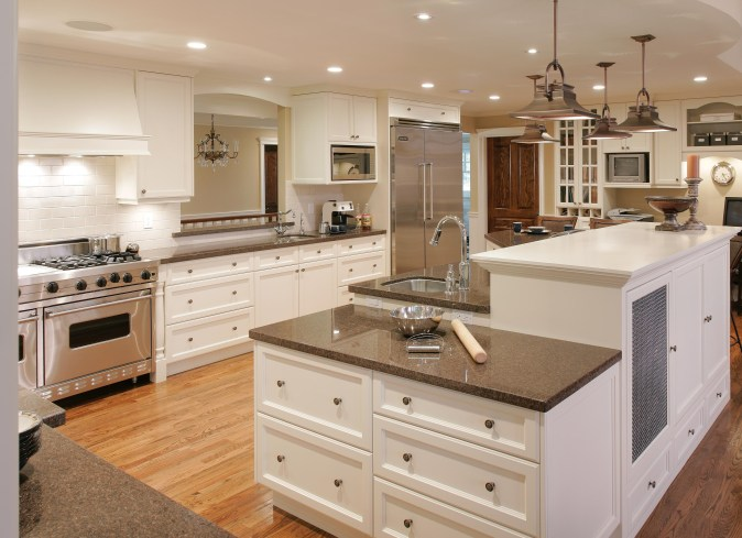 white kitchen with bake counter