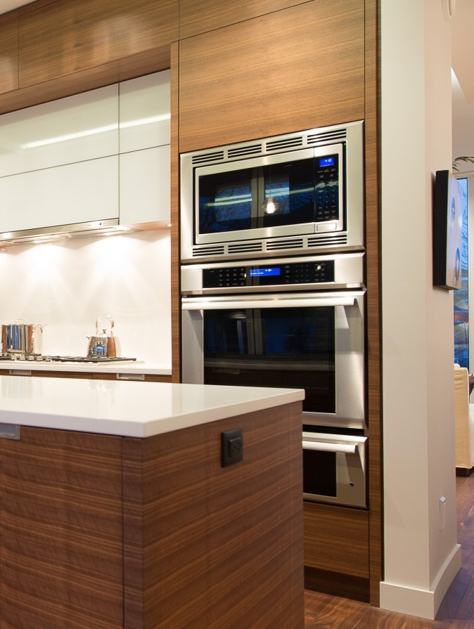 modern kitchen with oven stack
