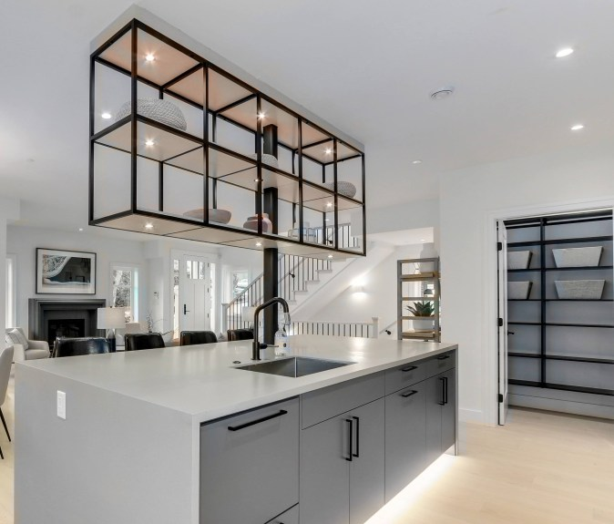 Metal floating shelves and wood pantry shelves