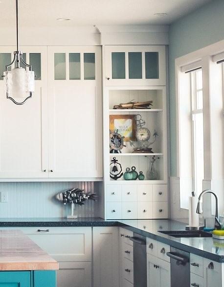 White open shelf in corner