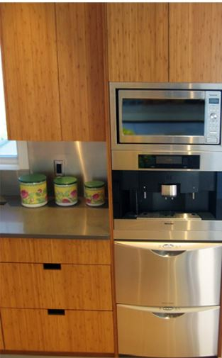 mw over coffee maker and dishwasher drawers
