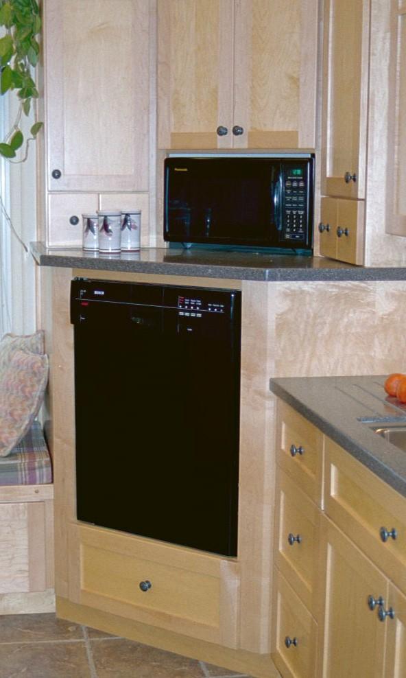 corner raised dishwasher and microwave