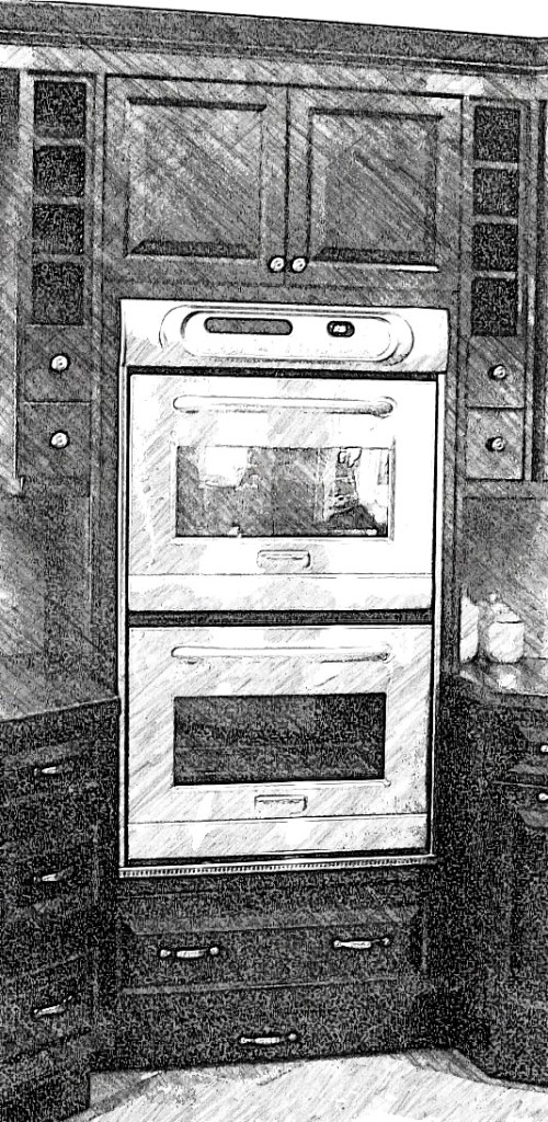 Corner double oven tall cabinet