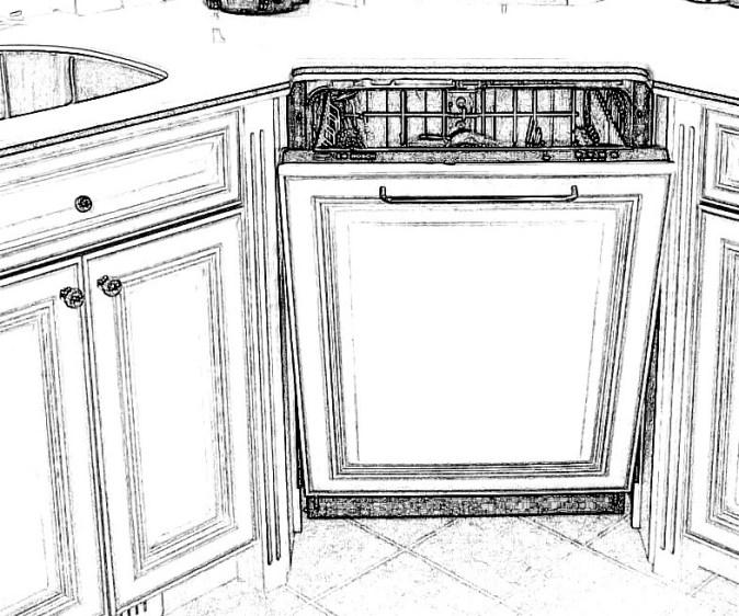 Corner dishwasher paneled