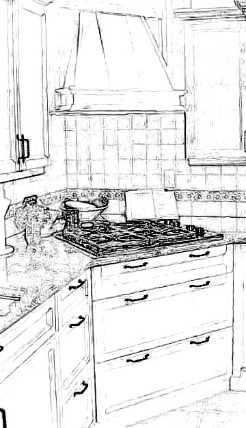 Corner cooktop and wood hood