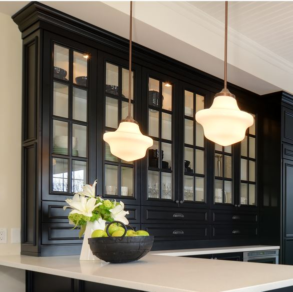 black hutch cabinet with mullions