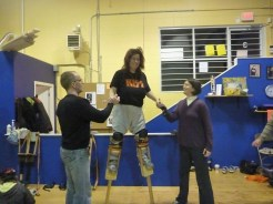 adult learning to stilt walk in Nanaimo